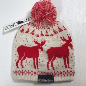 Home Alone Pom beanie hat red white winter 1 size